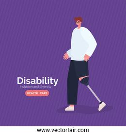 disability man cartoon with leg prosthesis vector design
