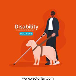 disability blind man cartoon with cane and dog vector design
