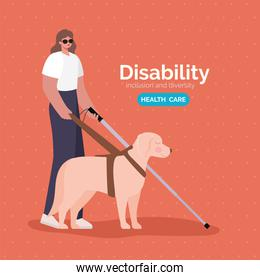 disability blind woman cartoon with cane and dog vector design