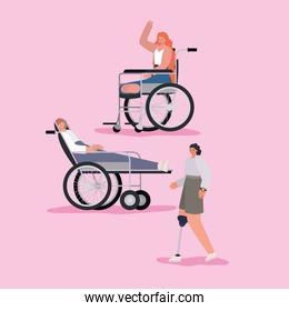 disability women cartoons with wheelchair and prosthesis vector design
