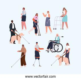 disability people cartoons with wheelchair prosthesis and cast vector design