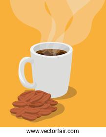 coffee mug with beans vector design