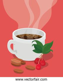 coffee cup with berries leaves and beans vector design