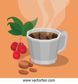 coffee mug with berries leaves and beans vector design