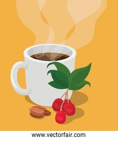 coffee mug with berries leaves and beans
