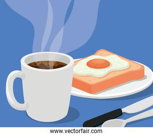 coffee mug with egg on bread and cutlery vector design
