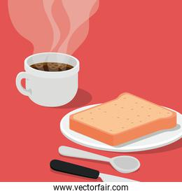 coffee cup with bread and cutlery vector design
