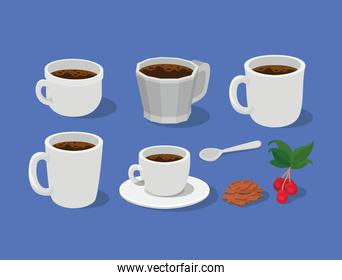 coffee mugs cups spoon with berries leaves and beans vector design