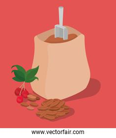 coffee beans bag berries and leaves vector design