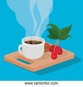 coffee mug beans berries and leaves on table vector design