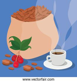 coffee beans bag cup berries and leaves vector design