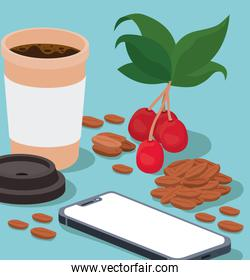coffee mug smartphone beans berries and leaves vector design