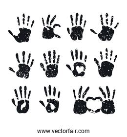 black hands with hearts prints vector design