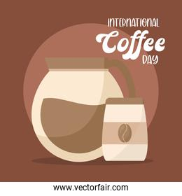 international coffee day with pot and bag vector design