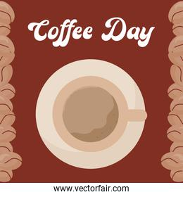 coffee day with cup on plate and beans vector design
