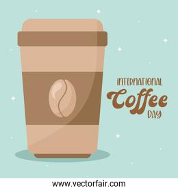 international coffee day and mug with bean vector design