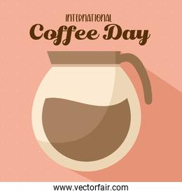 international coffee day with pot vector design