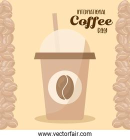 international coffee day and iced mug with beans vector design