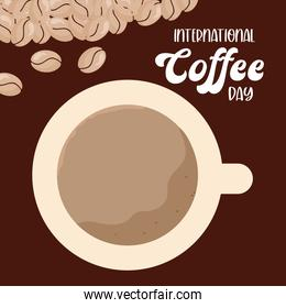 international coffee day and cup with beans vector design