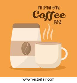 international coffee day with mug and bag vector design
