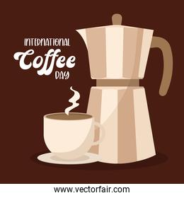 international coffee day with kettle and cup vector design