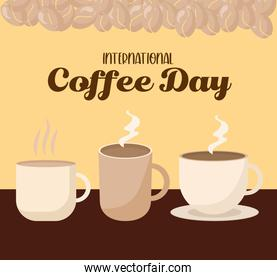 international coffee day with three mugs cup and beans vector design