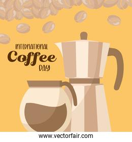 international coffee day with pot and kettle vector design