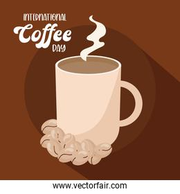 international coffee day with hot mug and beans vector design