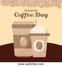 international coffee day and iced and hot mugs with beans vector design