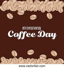 international coffee day with beans vector design