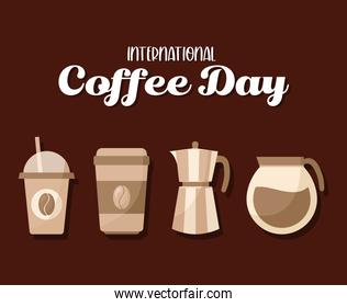 international coffee day with icon set vector design