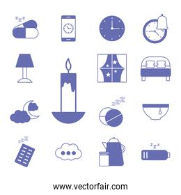 insomnia line and fill style set icons vector design