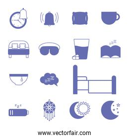 insomnia line and fill style set of icons vector design