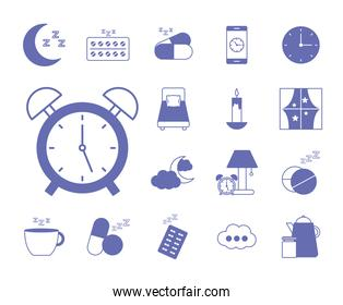 insomnia line and fill style icons collection vector design