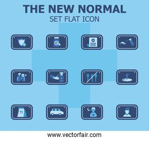 new normality road sign flat style set icons vector design