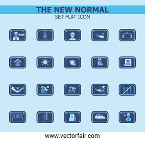 new normality road sign flat style icons collection vector design
