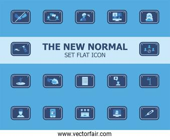 new normality road sign flat style icons bundle vector design