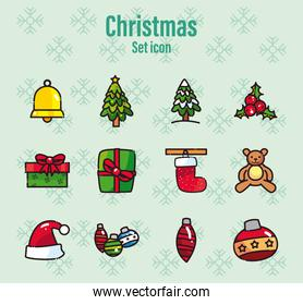 merry christmas line and fill style set icons vector design