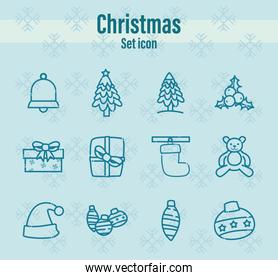 merry christmas line style set icons vector design