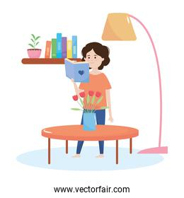 quarantine concept, cartoon girl reading a book in the house, colorful design