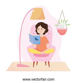 stay safe concept, cartoon girl sitting reading a book, colorful design