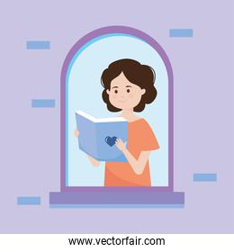 cartoon happy woman reading a book in the window, colorful design