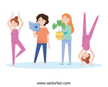cartoon happy women standing doing yoga, reading a book and holding a plant, colorful design