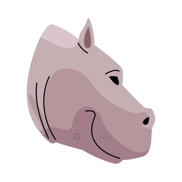 wild hippopotamus head animal nature icon