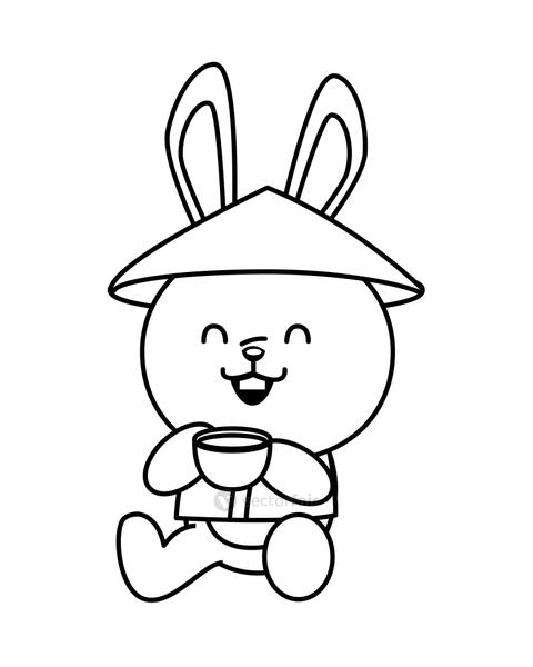 cute mid autumn rabbit with chinese hat drinking tea line style character
