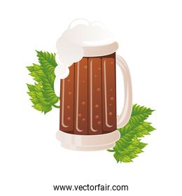 beer jar drink with leafs isolated icon