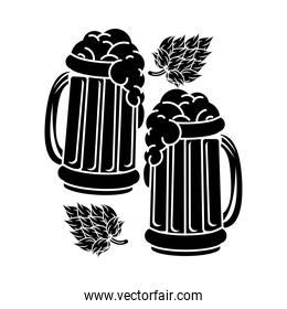 beers jars drinks with leafs silhouette icon