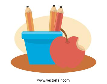 pencil holders and apple school supplies