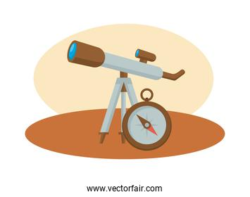 telescope and compass devices science icons