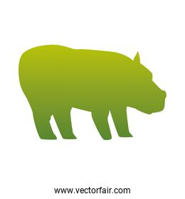 wild hippopotamus animal green silhouette icon